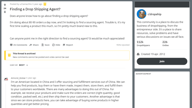 Identify Dropshipping Agents On Reddit